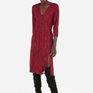 Snakeskin Print Surplice Fit And Flare Dress